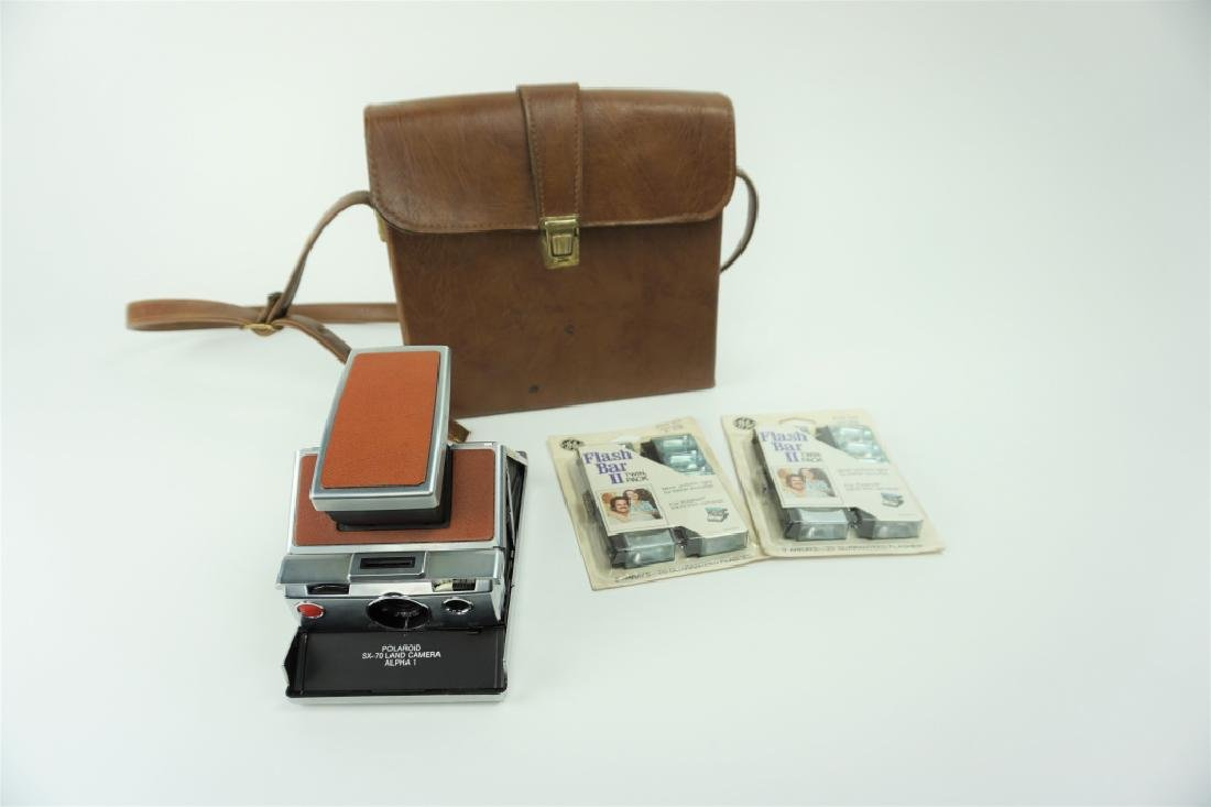 POLAROID SX-70 ALPHA 1 CAMERA WITH ACCESSORIES