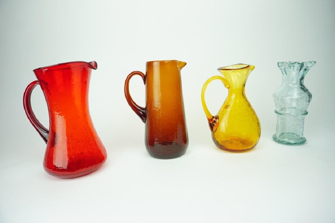 4pcs ASSORTED VINTAGE CRACKLE GLASS