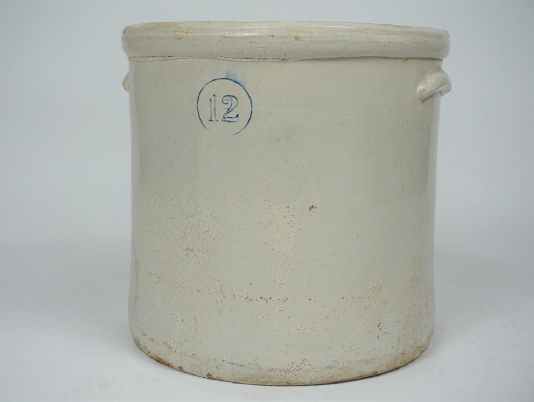 ANTIQUE 12 GALLON WHITE STONEWARE CROCK