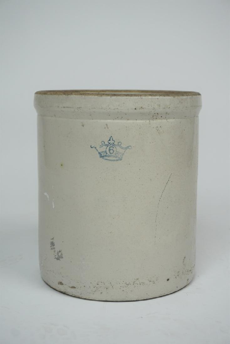 ANTIQUE 6 GALLON WHITE STONEWARE CROCK