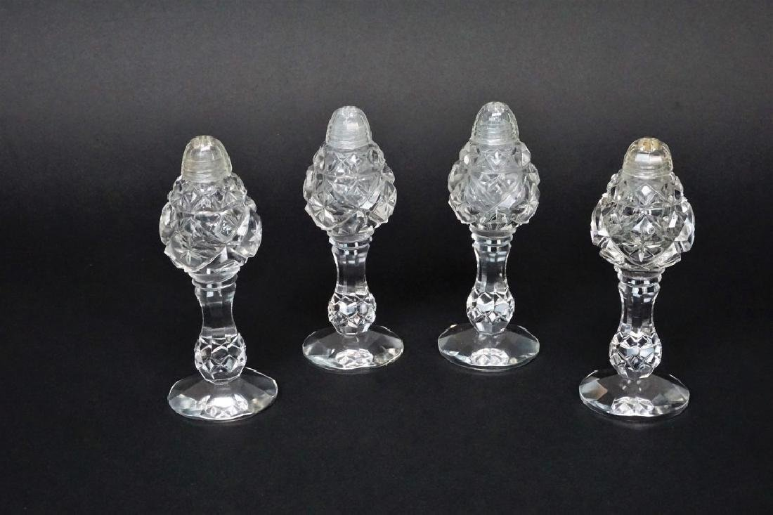(4) CUT GLASS SALT AND PEPPER SHAKERS
