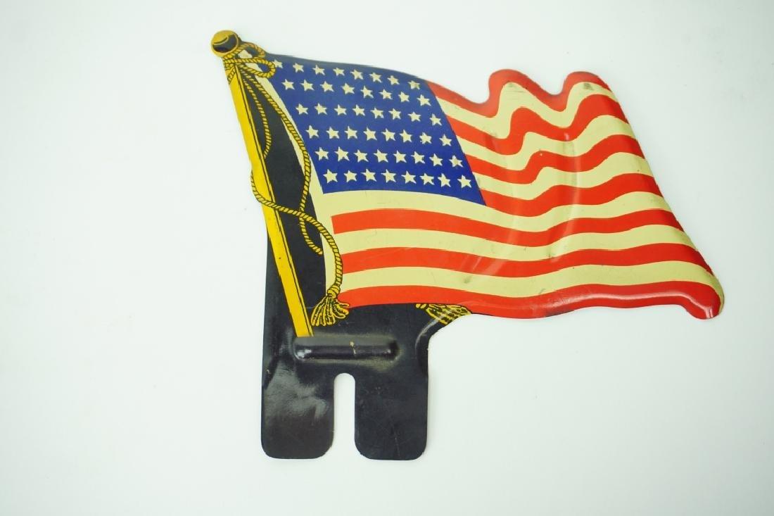 VINTAGE 1940'S 48-STAR FLAG LICENSE PLATE TOPPER