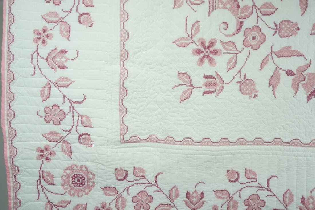 VINTAGE HAND CROSS STITCHED QUILT