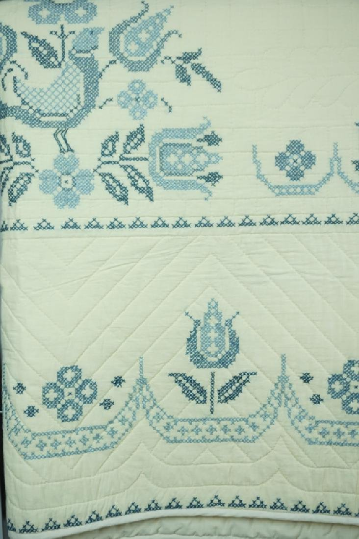VINTAGE HAND STITCHED CROSS STITCHED QUILT