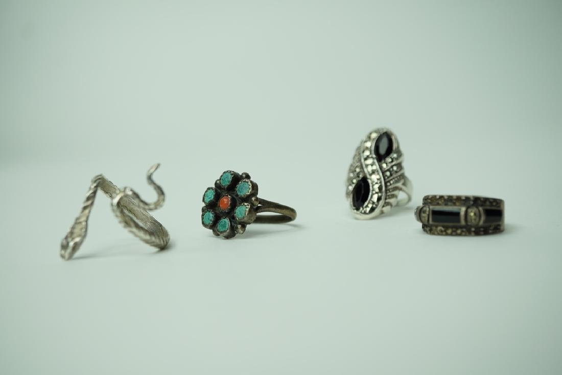 (4) ASSORTED STERLING SILVER RINGS