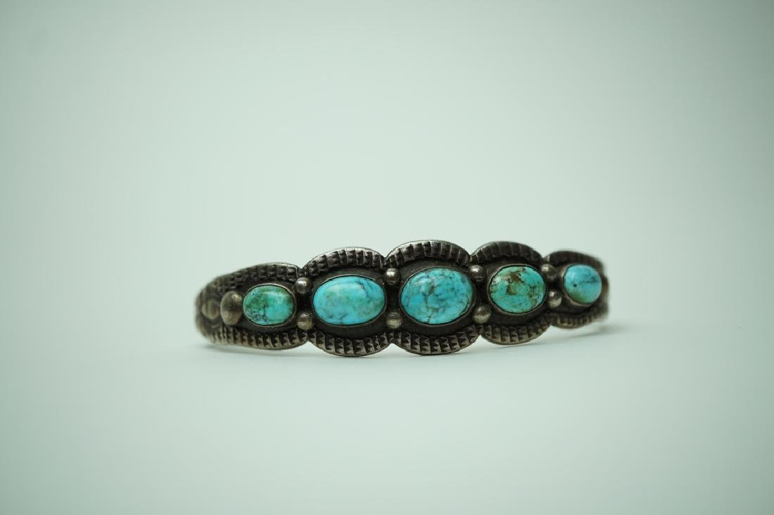 EARLY SILVER TURQUOISE NATIVE AMERICAN BRACELET