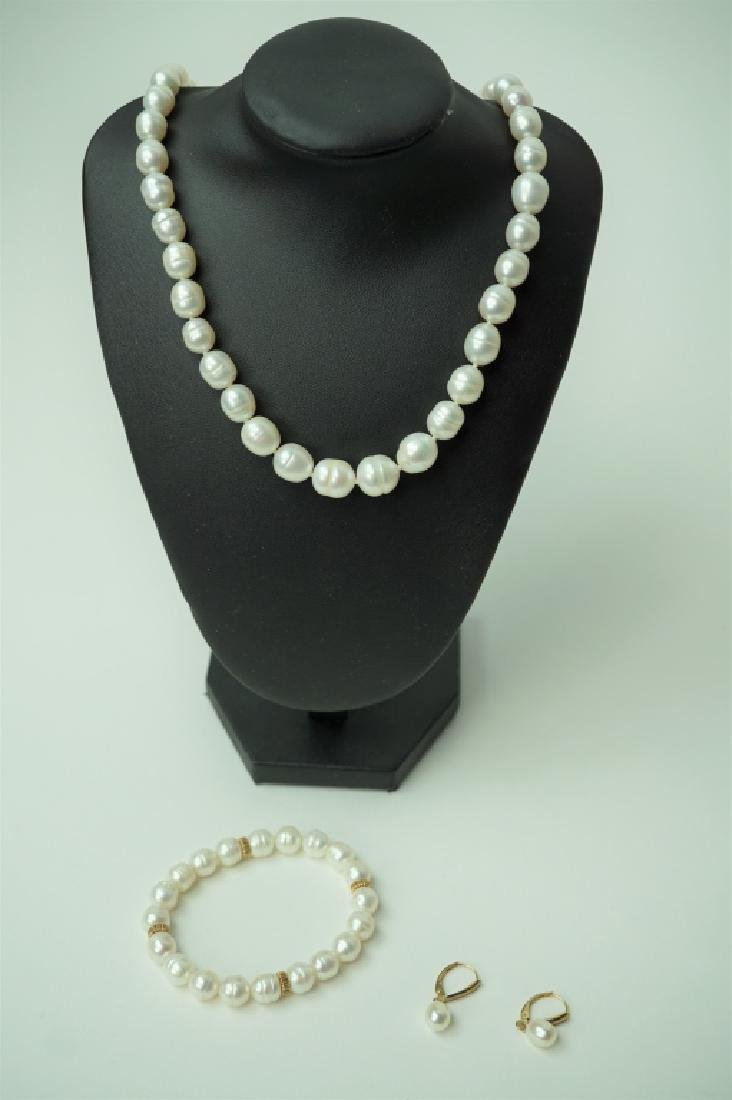 3pc HONORA FRESHWATER PEARL & 14K JEWELRYS ET