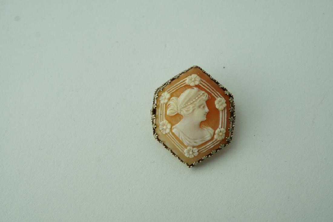 VICTORIAN 14K WHITE GOLD HEXAGON CAMEO PIN PENDANT