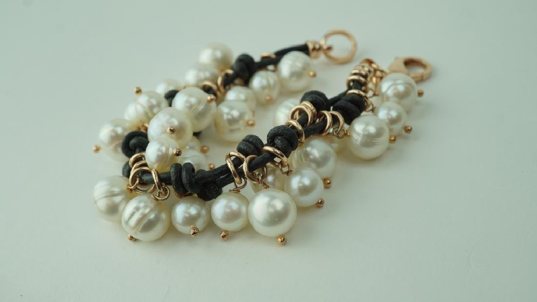 HONORA CULTURED PEARL LEATHER & BRONZE BRACELET