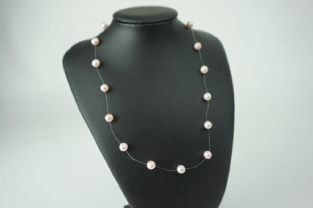 PINK FLOATING FRESHWATER PEARL NECKLACE