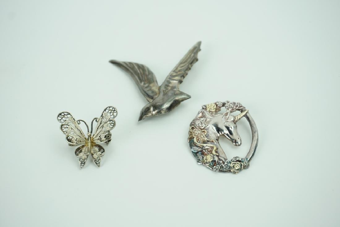 3pcs ASSORTED STERLING SILVER PINS