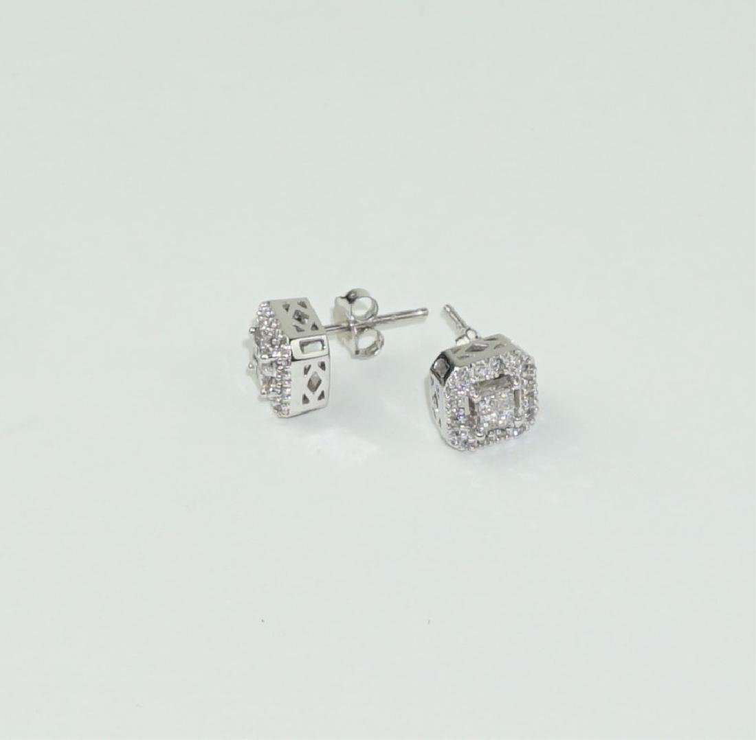 PAIR INVISIBLE SET DIAMOND HALO STUD EARRINGS