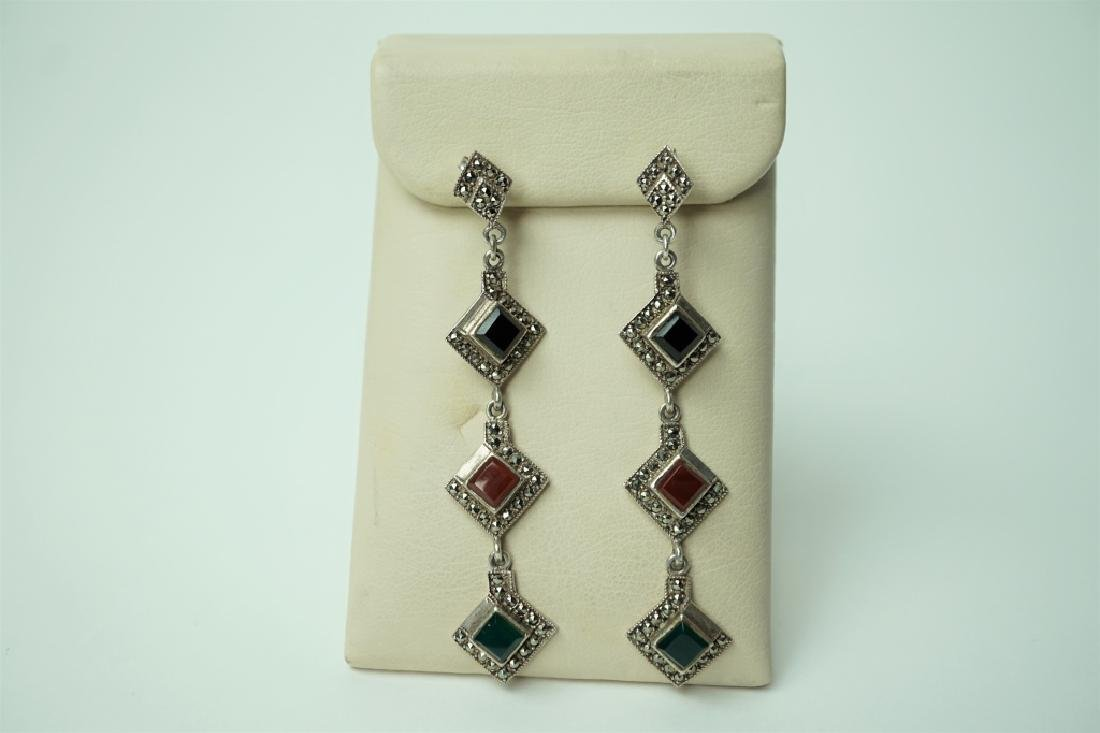 PAIR OF STERLING & MARCASITE DANGLE EARRINGS