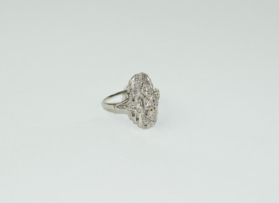14K WHITE GOLD DIAMOND FILIGREE DECO STYLE RING