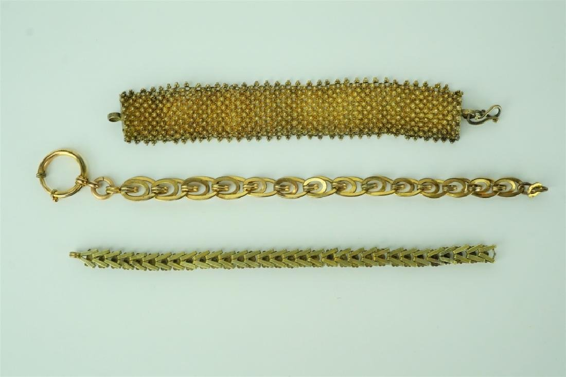 (3) ANTIQUE MIXED METAL BRACELETS