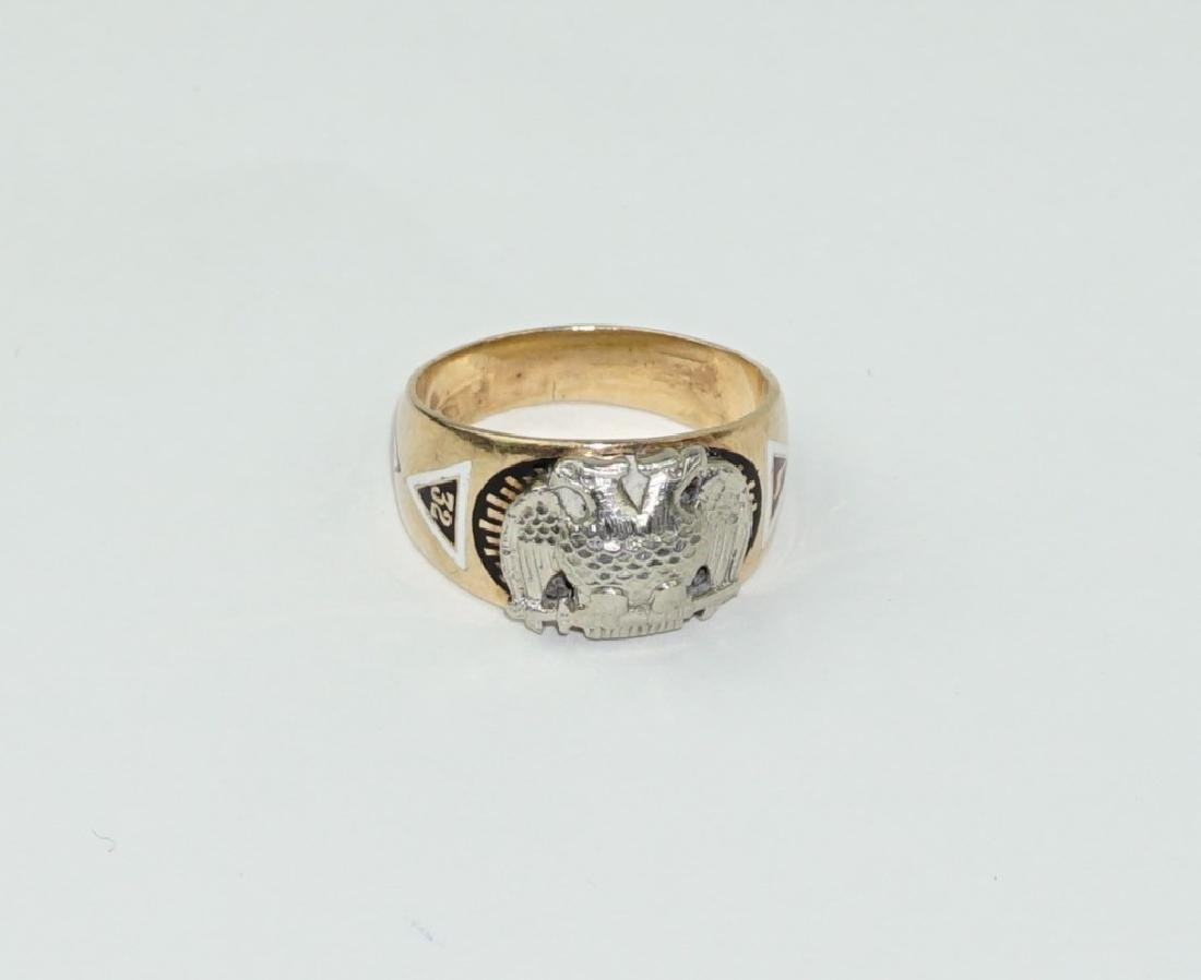 10K GOLD 32ND DEGREE MASONIC SCOTTISH RITE RING