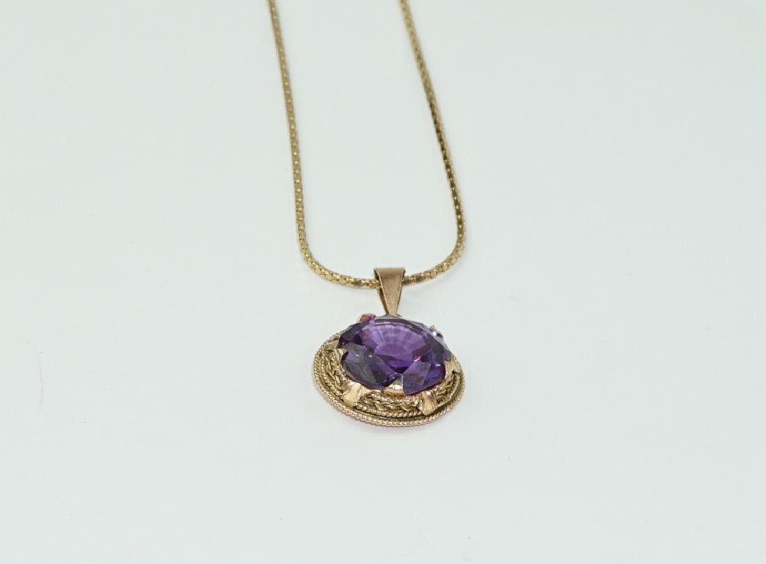 14K GOLD & SYNTHETIC SAPPHIRE PENDANT