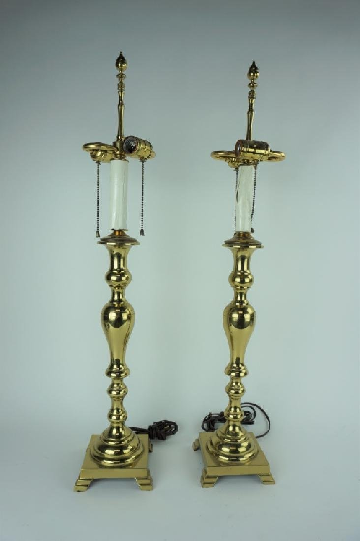 (2) CAST BRASS ELECTRIC TABLE LAMPS