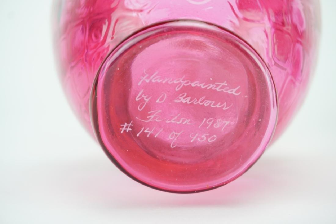 3pcs VINTAGE FENTON ROSE GLASS VASES - 4