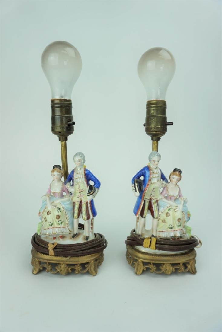 PAIR VINTAGE PORCELAIN FIGURAL DESK LAMPS