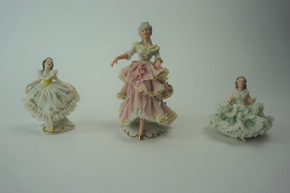 (3) ANTIQUE DRESDEN LACIES FIGURINES