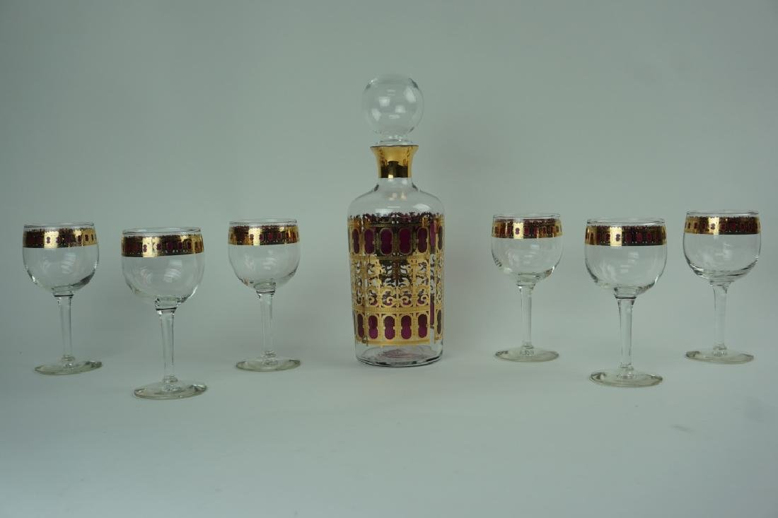 CULVER 22K GOLD CRANBERRY DECANTER SET