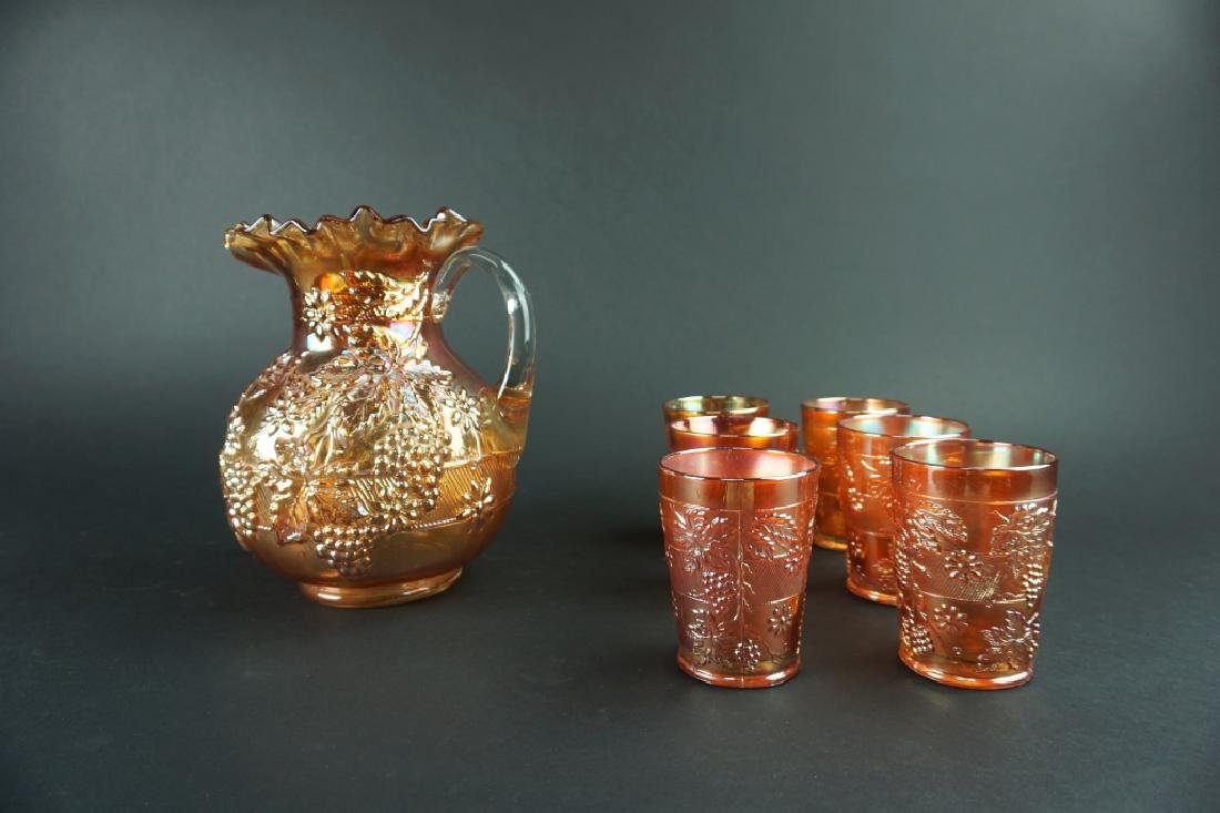 ANTIQUE CARNIVAL GLASS WATER PITCHER SET