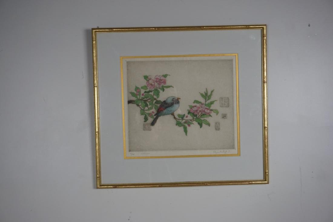 "FRAMED ""BIRD AND CHERRY BLOSSUM"" ETCHING"