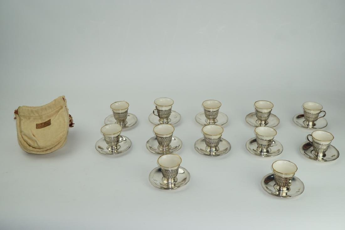 (12) TIFFANY &CO STERLING DEMITASSE CUPS W/ LENOX