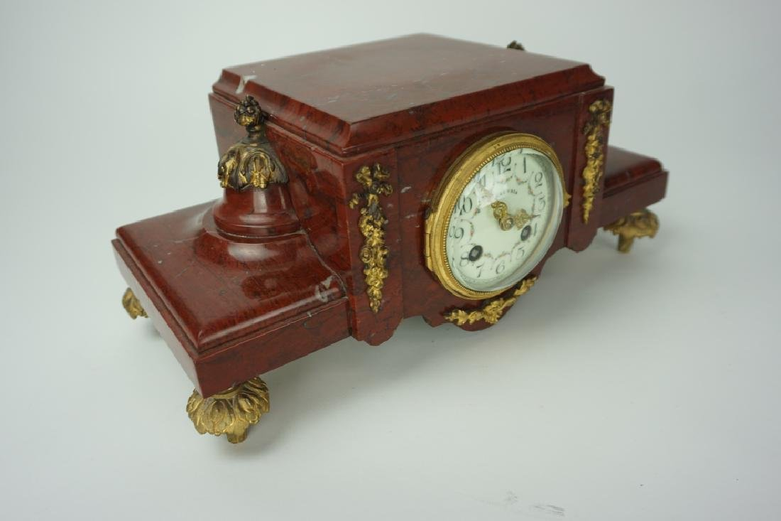 ANTIQUE BEAUVAIS RED MARBLE MANTLE CLOCK