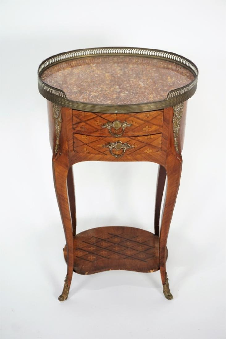 FRENCH INLAID MARBLE TOP STAND