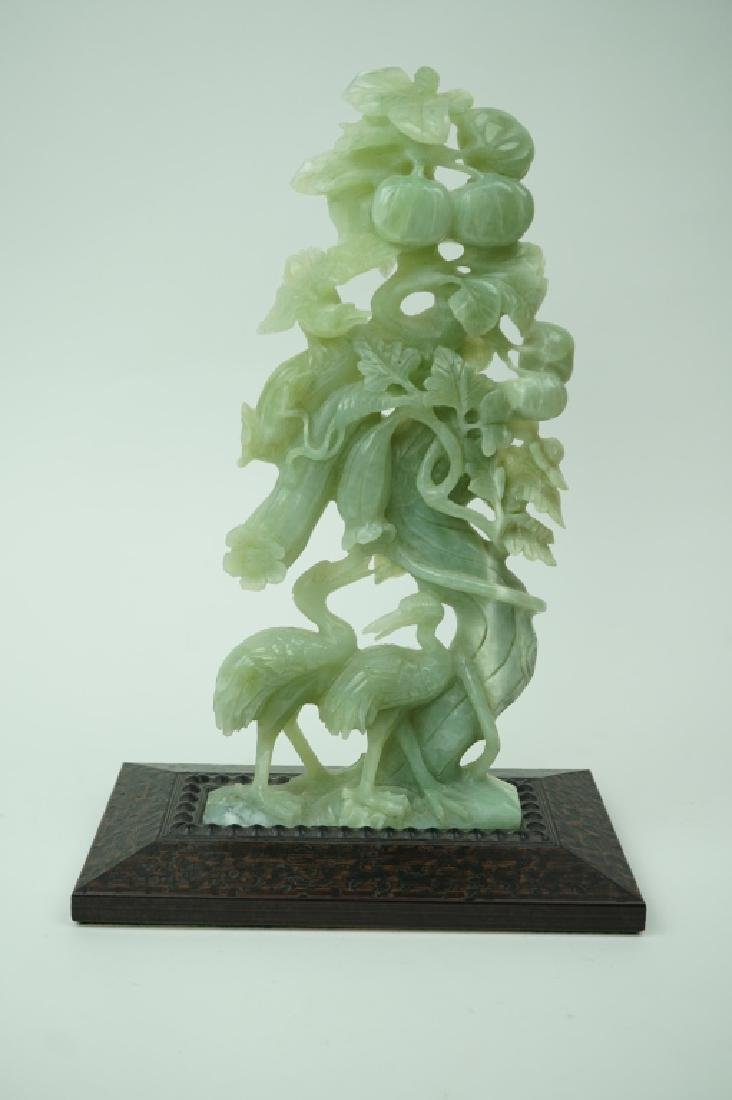 VINTAGE CHINESE CARVED CELADON TREE