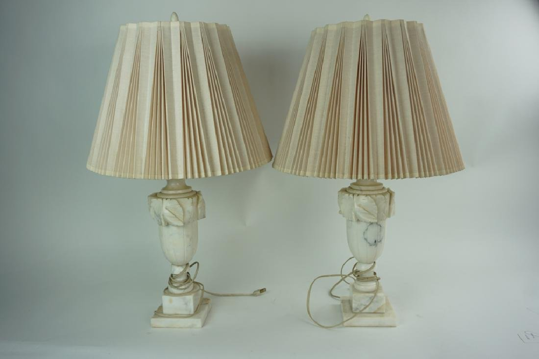 VINTAGE PAIR OF ALABASTER MARBLE LAMPS