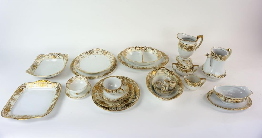 91pcs NORITAKE GOLD BAND 5pc SRVC FOR 10