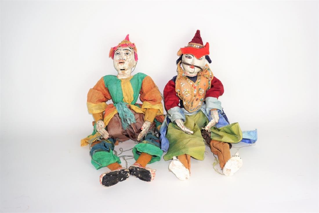 (2) ANTIQUE CHINESE MALE MARIONETTE PUPPETS