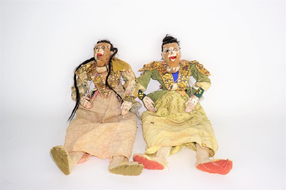(2) ANTIQUE CHINESE FEMALE MARIONETTE PUPPETS