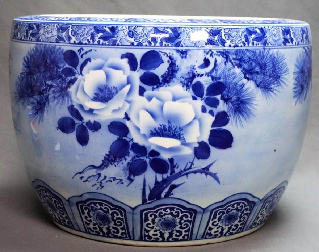 LARGE BLUE & WHITE PORCELAIN FISH BOWL
