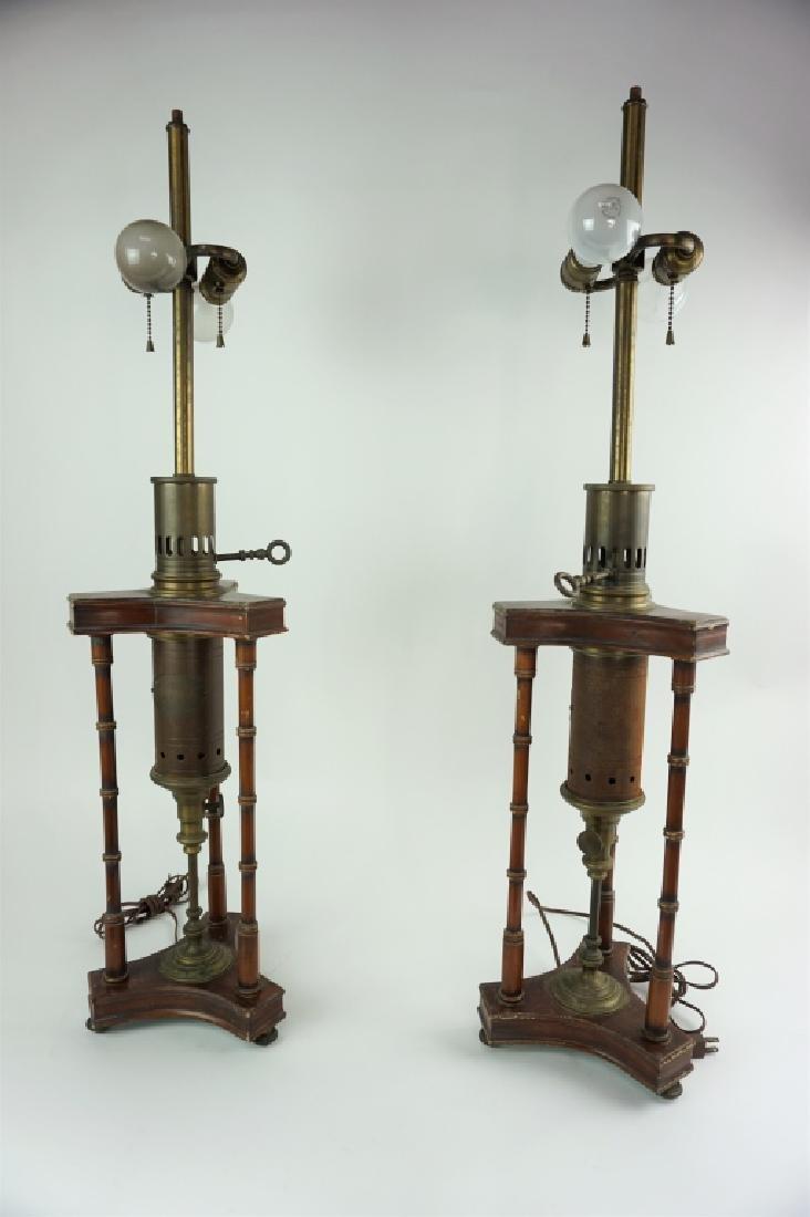 PAIR OF VINTAGE WOOD & METAL LAMPS