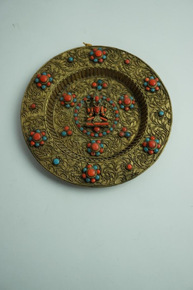 TIBETAN BUDDIST INLAID TURQUOISE AND CORAL