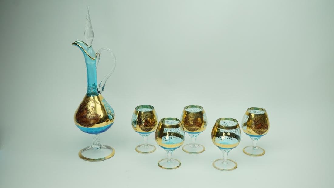 BOHEMIAN PAINTED GLASS DECANTER & 5 GLASSES