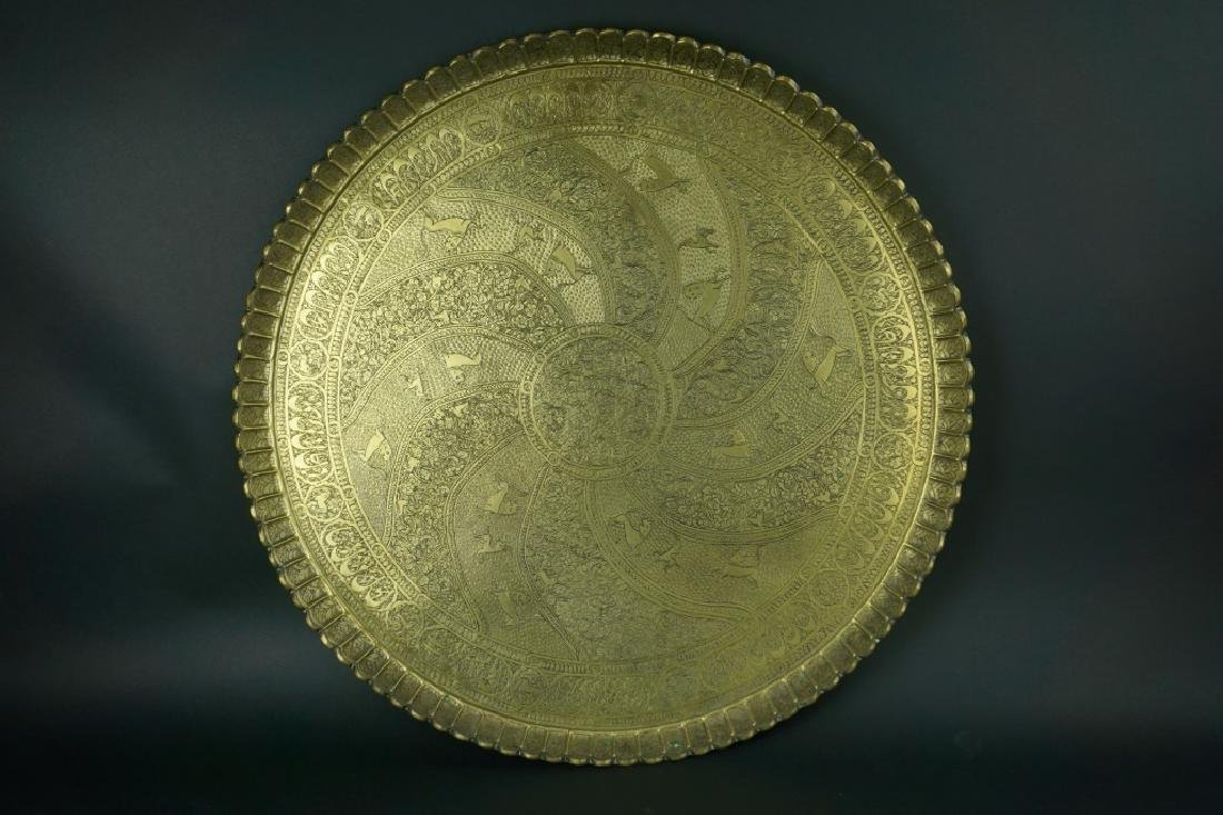 ANTIQUE MIDDLE EASTERN BRASS TRAY