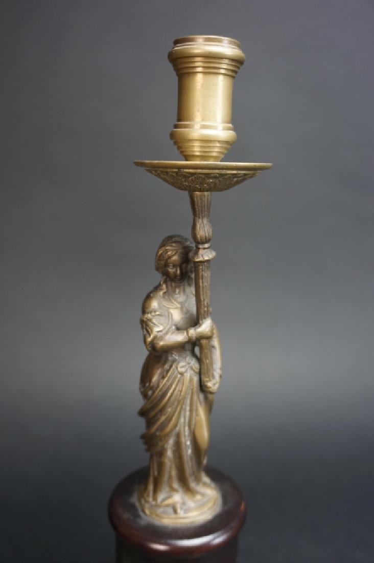 PAIR OF MODERN FIGURAL BRASS CANDLESTICKS