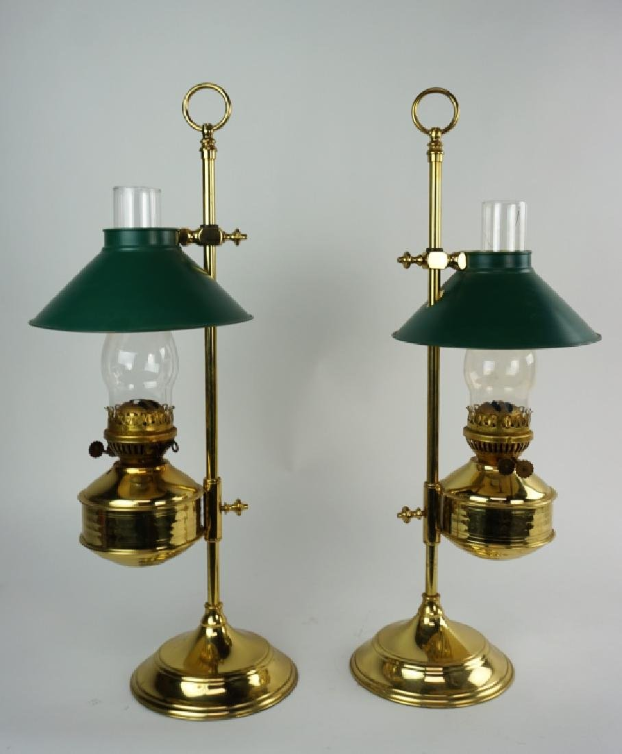PAIR OF VINTAGE ADJUSTABLE BRASS ALADDIN LAMPS