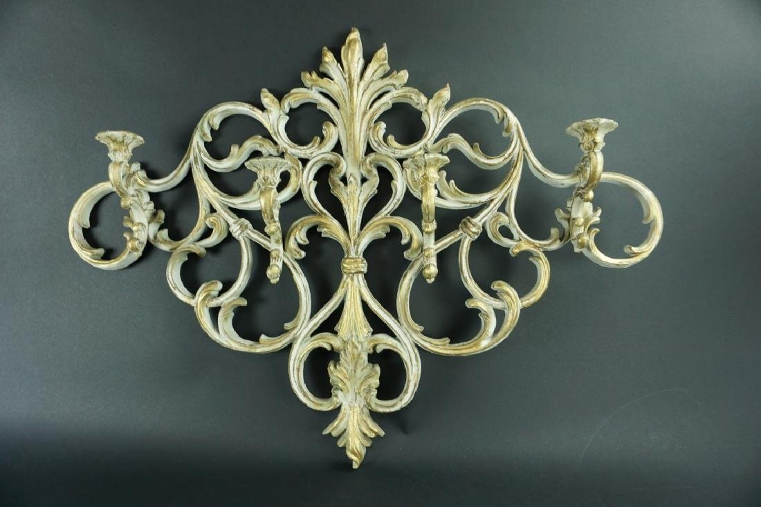 ANTIQUE CAST ALUMINUM WALL SCONCE