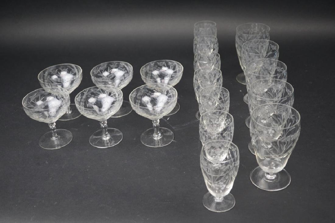 17pcs ASSORTED VINTAGE ETCHED GLASS STEMWARE