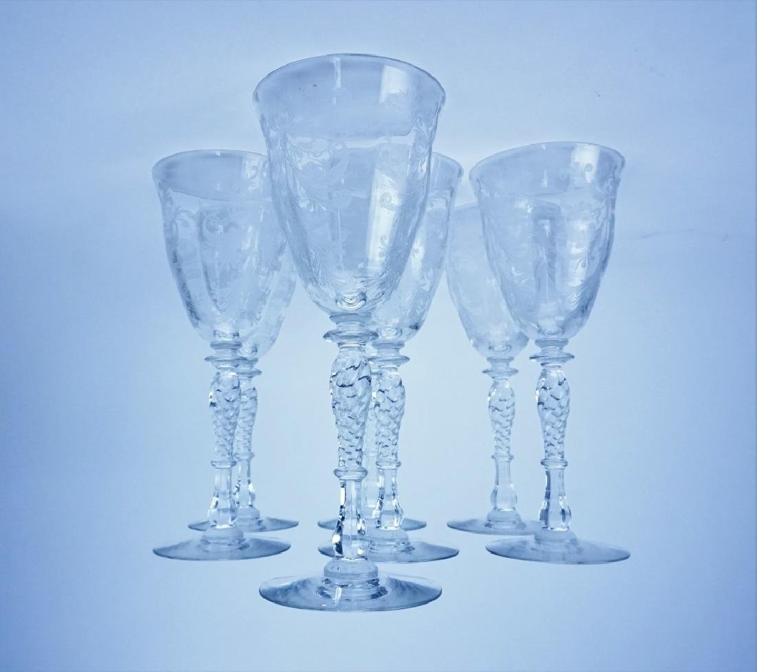 (7) HC FRY GLASS CO ETCHED GLASS WINE GOBLETS