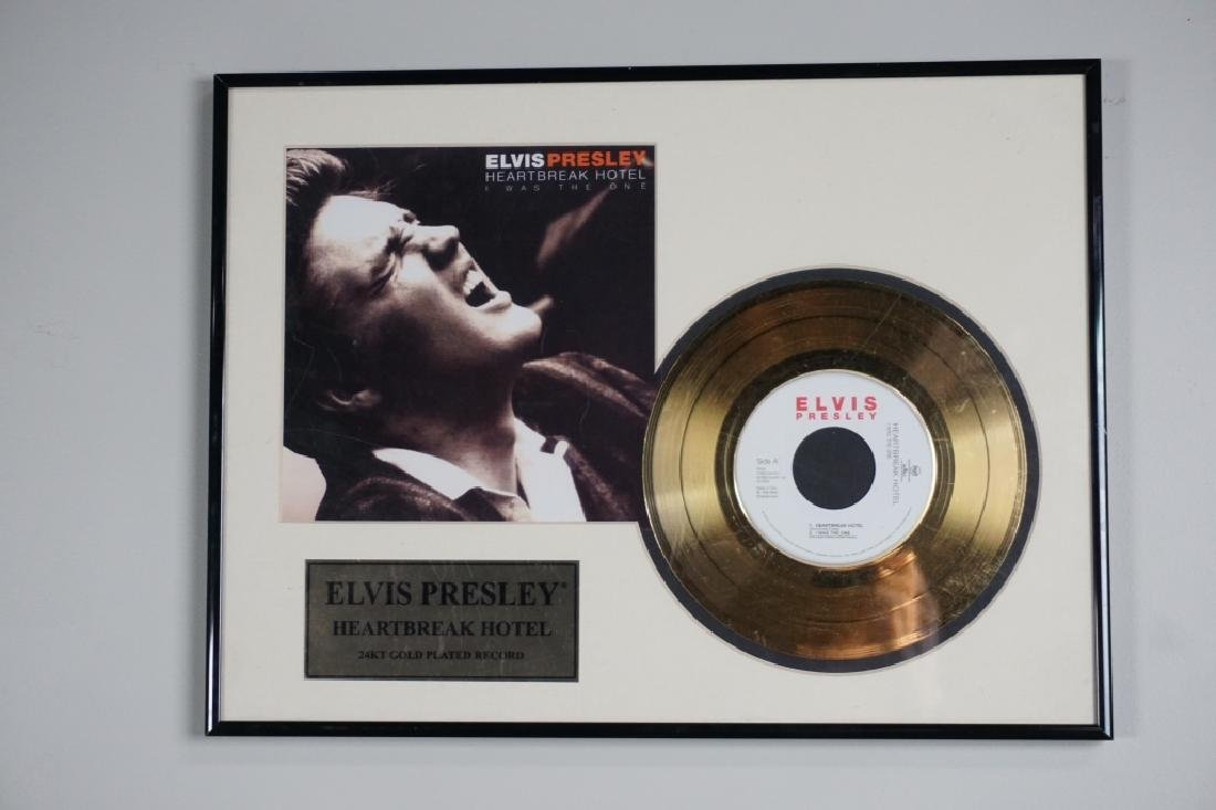 ELVIS PRESLEY FRAMED HEARTBREAK HOTEL 24K RECORD