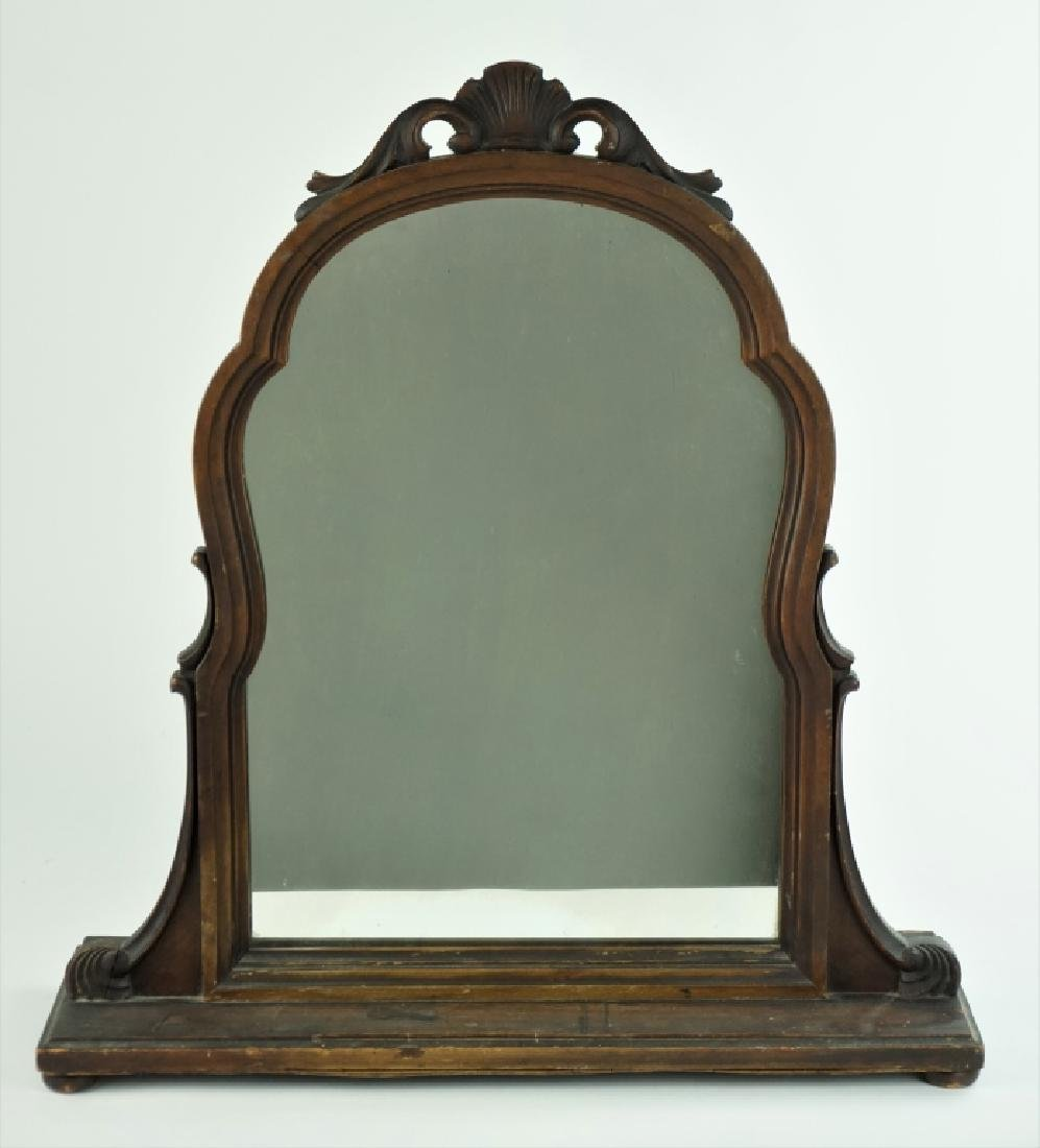 ANTIQUE WOOD SHAVING MIRROR