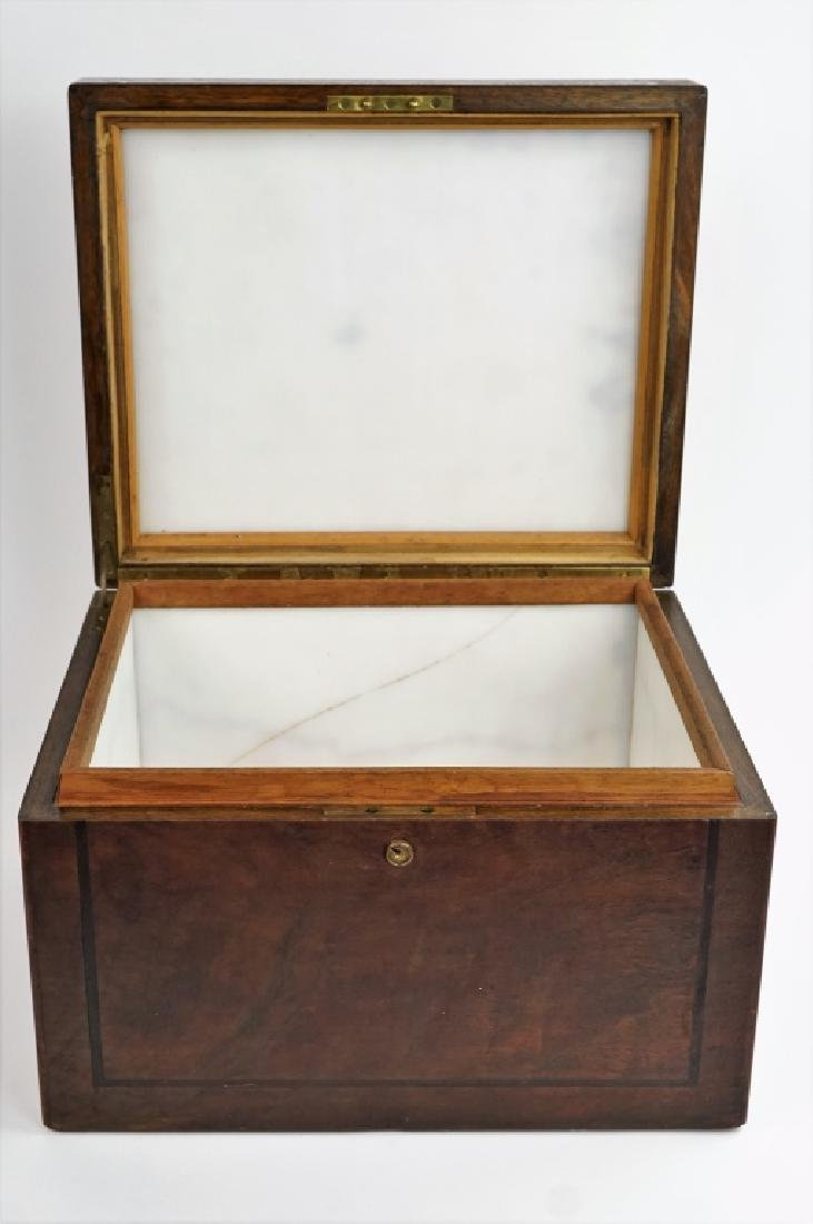 ANTIQUE MILK GLASS LINED HUMIDOR
