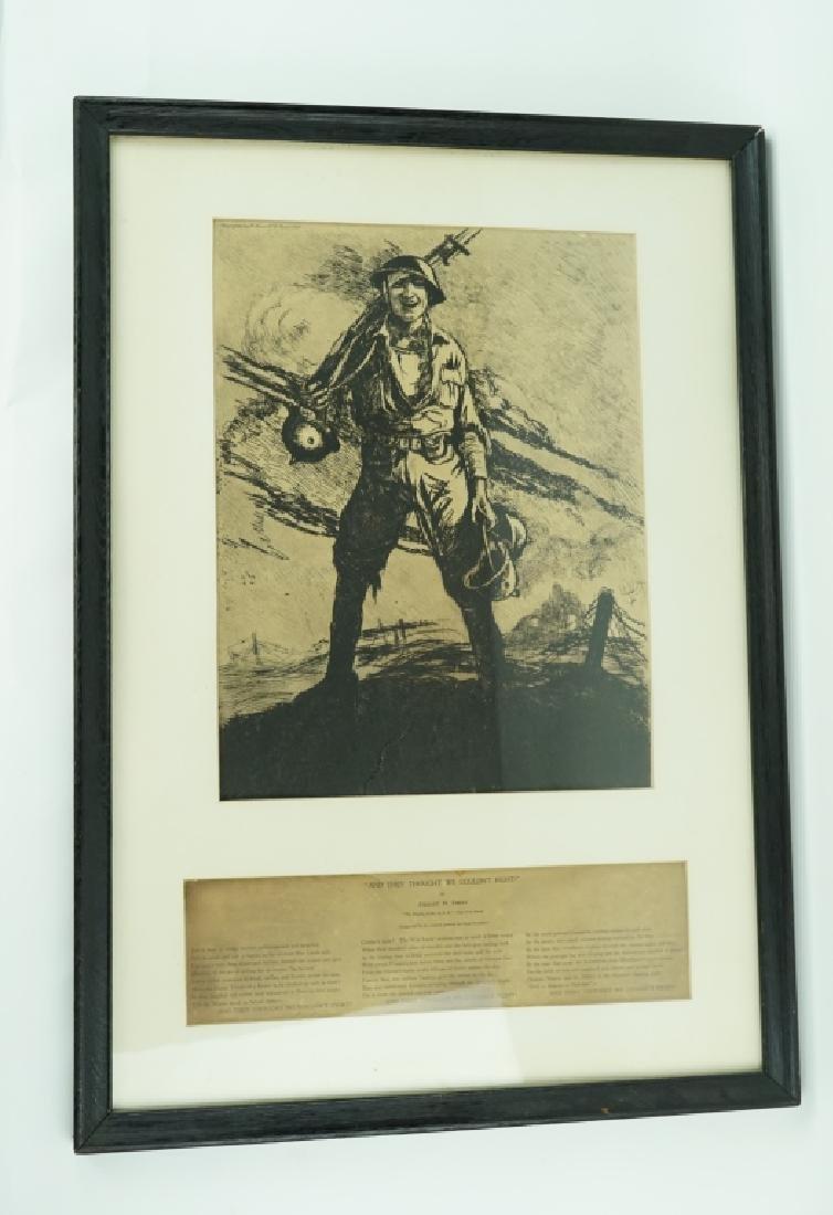 FRAMED PRINT OF WORLD WAR I SOLDIER AND POEM